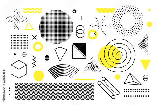Photo  Universal trend halftone geometric shapes set juxtaposed with bright bold yellow elements composition