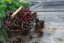 Christmas Composition With Pine Cones And Spruce Branches