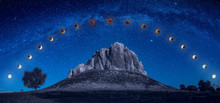 Track Of Full Blood Moon Eclipse Above The Mountain