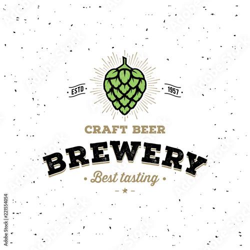 фотография Brewery Hop White For Pub, Bar. Vector Illustration.