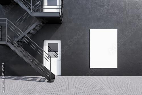 Deurstickers Stad gebouw Gray building with fire escape ladder. Poster