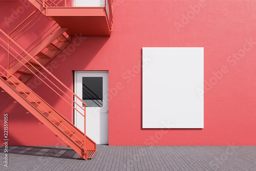 Poster Stad gebouw Red building with fire escape ladder. Poster