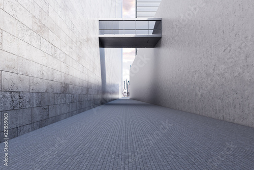 Deurstickers Stad gebouw Concrete glass modern business building passage