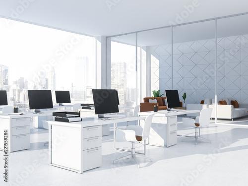 Fototapeta White tile office workplace black computer screens obraz na płótnie