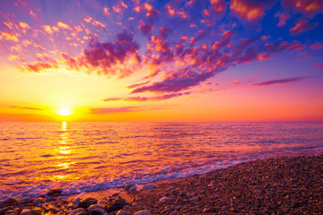 FototapetaScenic colorful sunset above sea. Seascape background
