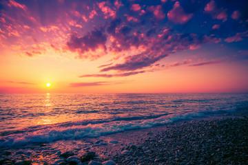 Fototapeta Scenic colorful sunset above sea. Seascape background