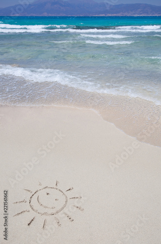 Foto op Canvas Eiland The symbol of sun drawing on the sand. Chrissi island in Crete, Greece.