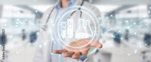 Fotobehang Apotheek Doctor holding digital analysis result icons 3D rendering