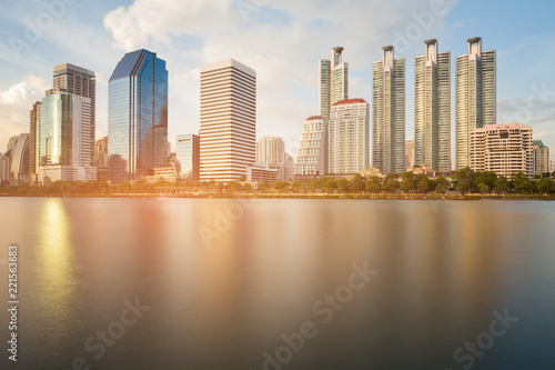 Staande foto Stad gebouw City apartment water river front, cityscape background, Bangkok Thailand