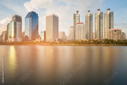 Deurstickers Stad gebouw City apartment water river front, cityscape background, Bangkok Thailand
