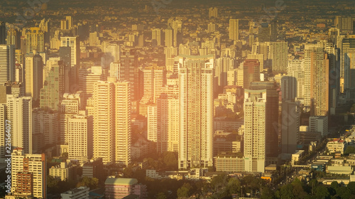 Deurstickers Stad gebouw Residence building downtown crowed area, Bangkok cityscape Thailand