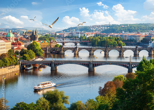 Foto op Plexiglas Praag Row of bridges in Prague
