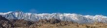 Panorama Of Alabama Hills Eastern Sierra Nevada Mountains Near Lone Pine California USA.