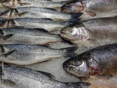 Foto op Canvas Vis A lot of fresh raw fish on store shelve with ice