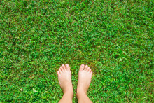 Young Woman's Barefoot Standin...