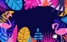 Tropical Jungle Leaves Background With Flamingos. Colorful Tropical Poster Design. Exotic Leaves, Plants And Branches Art Print. Flamingo Bird Wallpaper, Fabric, Textile Vector Illustration Design