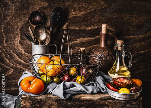 Still life with colorful organic tomatoes in harvesting ... on kitchen plastic holder, kitchen chemical holder, kitchen glass holder, kitchen fruit holder, kitchen grease holder, kitchen skillet holder, kitchen egg holder,