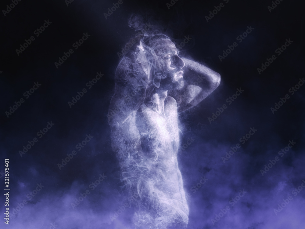 Fototapety, obrazy: Handsome shirtless man with muscular torso holding hands on head in smoke effect on dark background