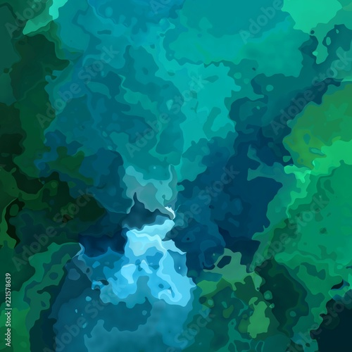 Abstract Stained Pattern Texture Square Background Emerald Green And Shire Blue Color Modern Painting Art Watercolor Effect