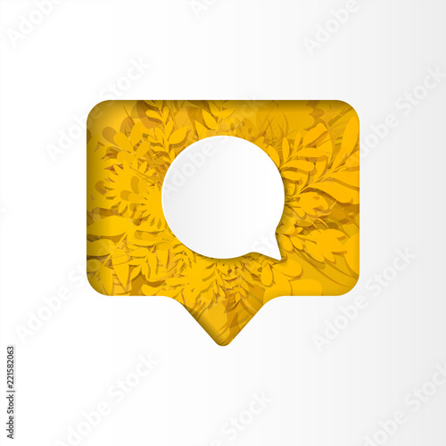 Social network yellow icon new comment with white plants, grass, leaves and flow Slika na platnu