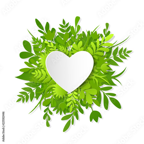 Fotografija  Like icon, paper cut heart on the green plants, grass, leaves and flowers, save
