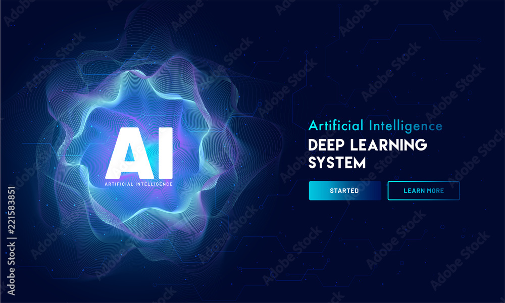 Fototapety, obrazy: Artificial Intelligence (AI) landing page design, hi-tech blockchain network on neural network background.