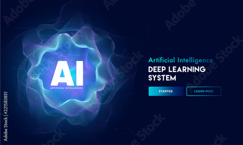 Artificial Intelligence (AI) landing page design, hi-tech blockchain network on neural network background Canvas Print