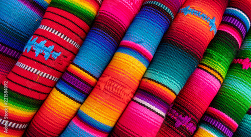 colorful fabric as seen on the markets of mexico and peru