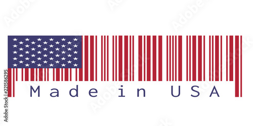 Barcode set the color of America flag, the red blue color and star on white background with text: Made in USA Tableau sur Toile