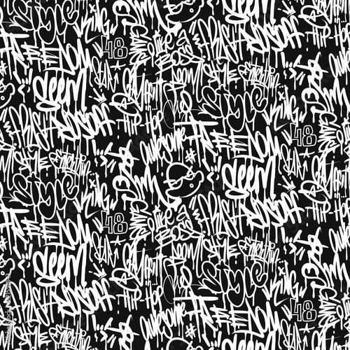 Poster Graffiti Vector graffiti tags seamless pattern, print design.