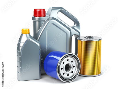 Fotografía  Car oil filter and motor oil canisters isolated on white background