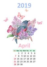 Romantic Floral Banner With Bird. Calendar For 2019, April