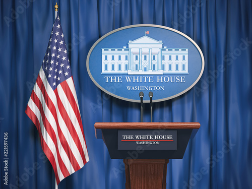 Politics of White House and President of USA United states concept Wallpaper Mural