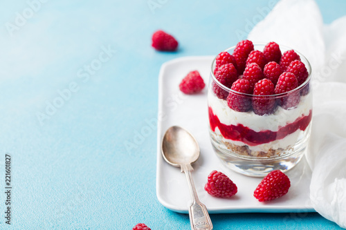 Keuken foto achterwand Dessert Raspberry dessert, cheesecake, trifle, mouse in a glass. Copy space.