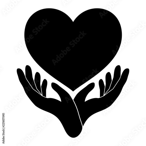 Hands Holding Heart Black Hand And Heart Icon Hand Heart Love