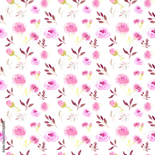 Foto op Canvas Bloemen Seamless pattern, pink watercolor flowers