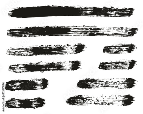Fotografie, Obraz  Paint Brush Lines High Detail Abstract Vector Background Set 57