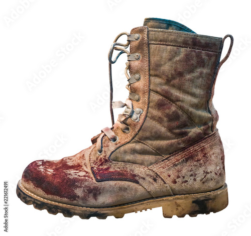 Canvastavla Isolated Bloody Military Boot