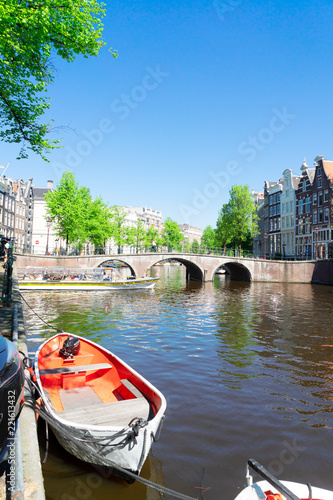 Papiers peints Con. ancienne historical houses of Amsterdam over canal ring landmark in old european citye, Amsterdam spring scenery
