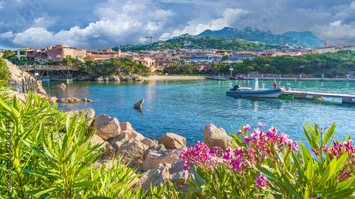 Photo  View of harbor and village Porto Cervo, Olbia Tempio region, Sardinia island, It