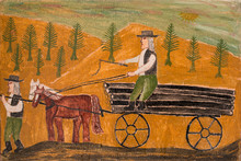 Village Scenery Naive Painting Of Villagers Or Peasants Working.