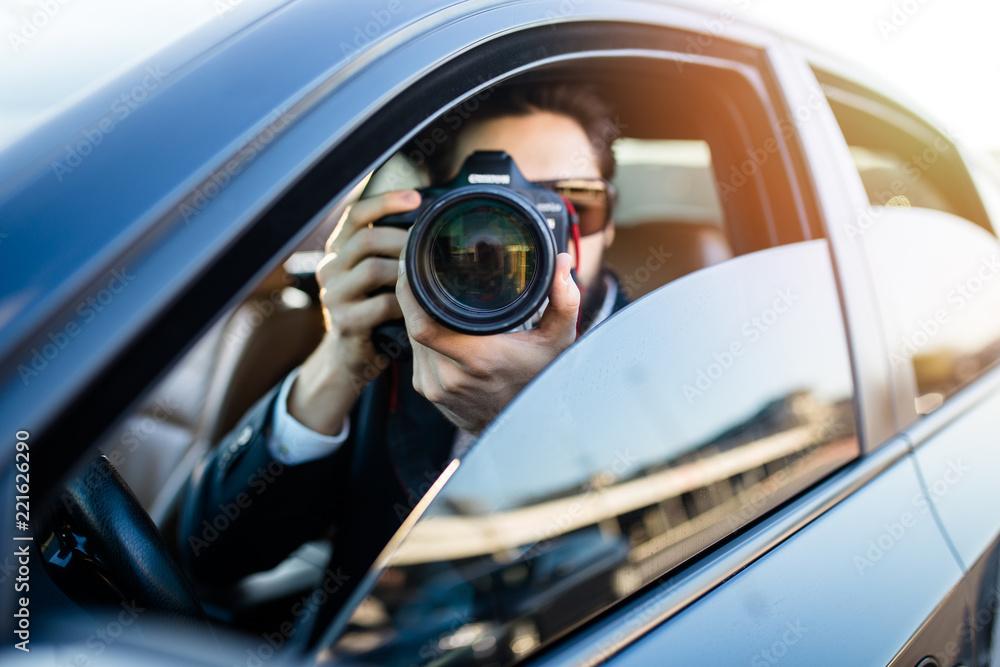 Fototapeta Private detective investigating secret case.