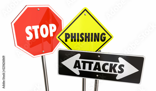 Fotografía  Stop Phishing Attacks Email Spam Warning Signs 3d Illustration