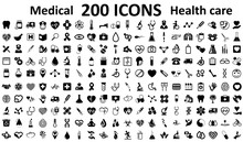 Set 200 Medecine And Health Flat Icons. Collection Health Care Medical Sign Icons – Vector