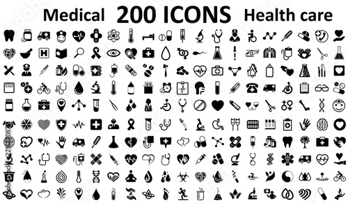 Set 200 Medecine and Health flat icons Canvas Print