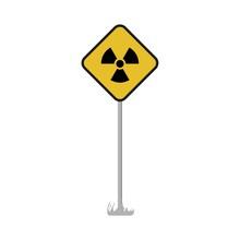 Warning Nuclear Radioactive Road Sign. Vector Illustration