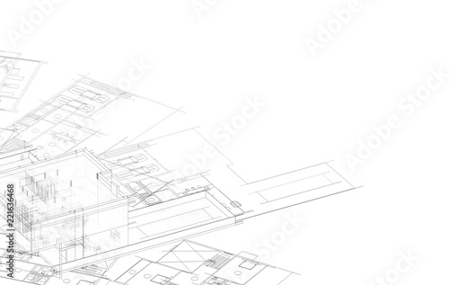 concept architecture 3d illustration - 221636468