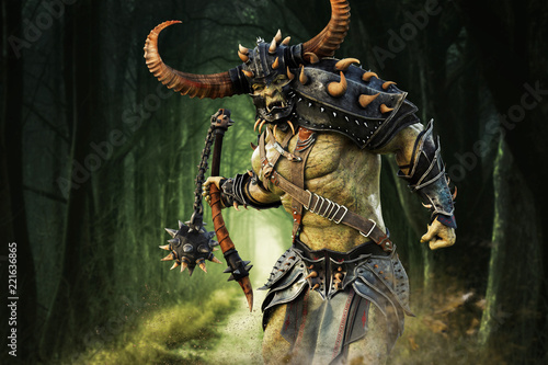 Fotografía  Savage Orc Brute running into battle wearing traditional armor and equipped with a flail weapon