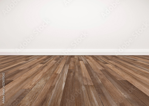 Fotografia Wood floor and white wall, empty room for background
