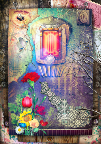 Ancient and old fashioned background with haunted fairytale window and fantastic flowers